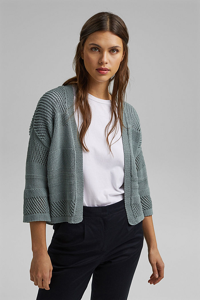 Linen blend: pointelle cardigan, TURQUOISE, detail image number 0