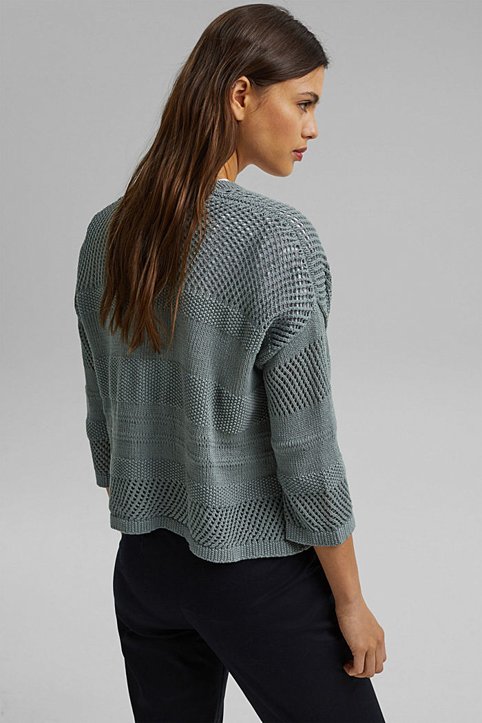 Linen blend: pointelle cardigan, TURQUOISE, detail image number 3