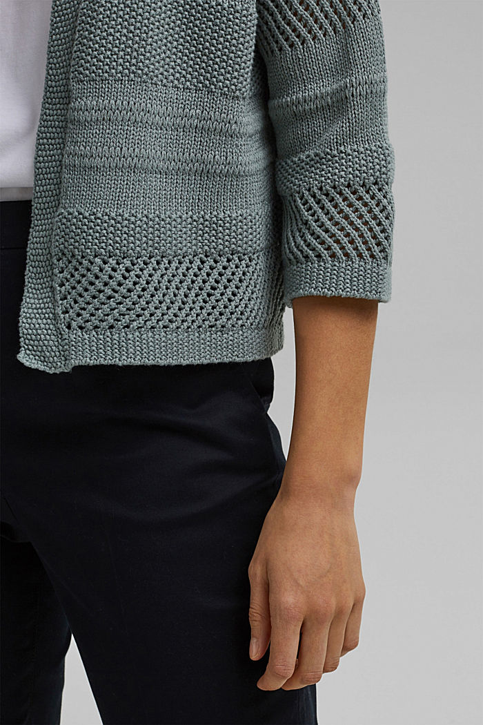 Linen blend: pointelle cardigan, TURQUOISE, detail image number 2