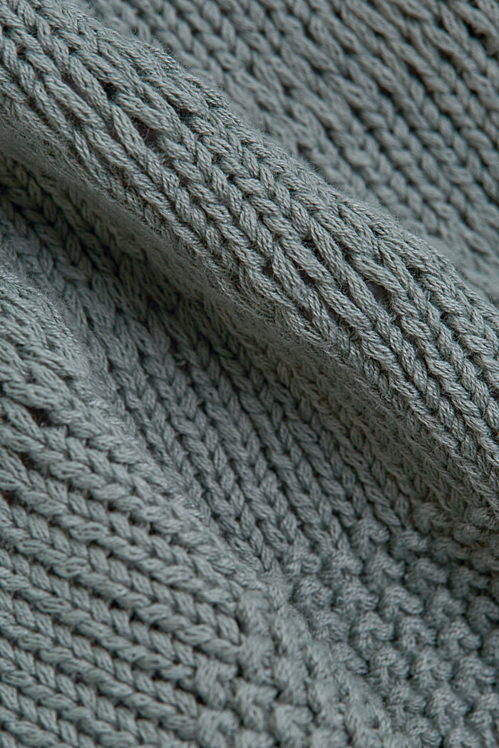 Linen blend: pointelle cardigan, TURQUOISE, detail image number 4