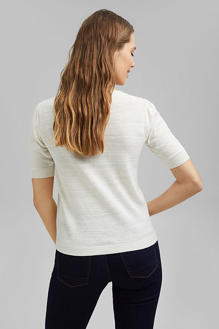 Leinen/Organic Cotton: Strick-Shirt, OFF WHITE, detail image number 3