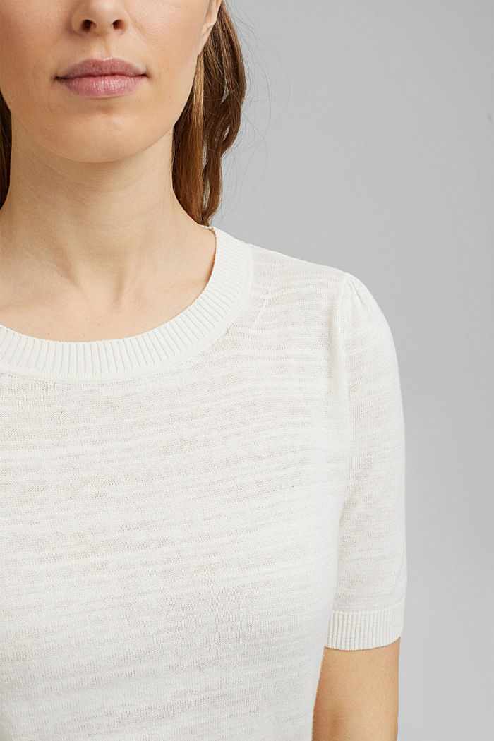 Leinen/Organic Cotton: Strick-Shirt, OFF WHITE, detail image number 2