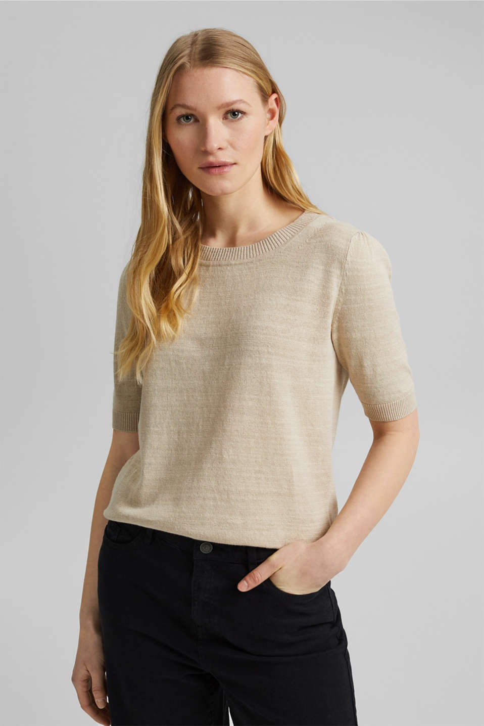 Esprit - Linen/organic cotton: Knitted top