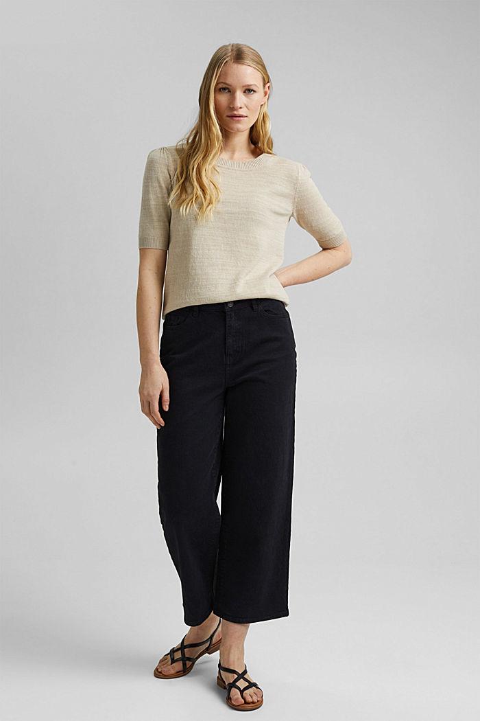 Leinen/Organic Cotton: Strick-Shirt, SAND, detail image number 1
