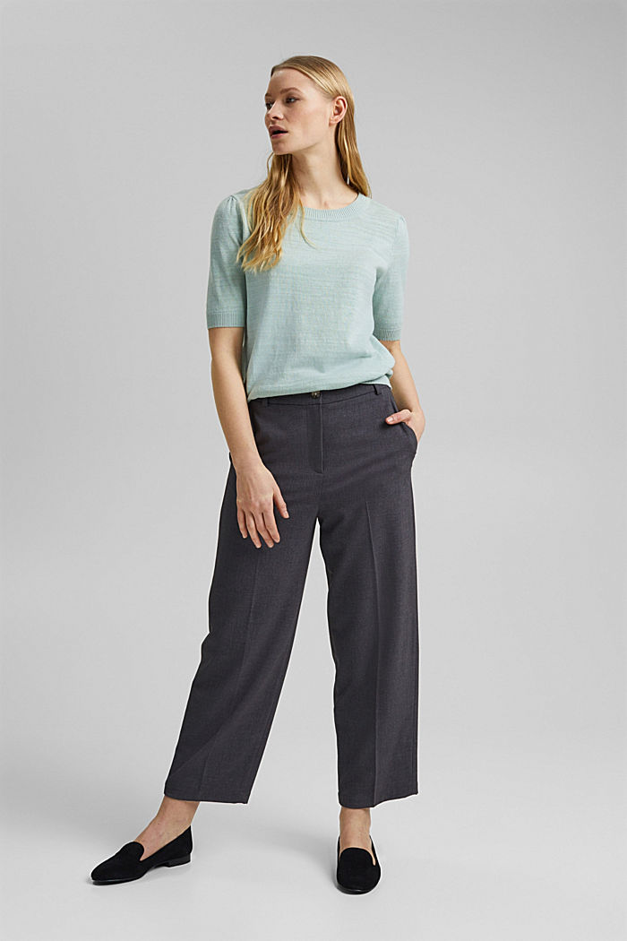 Linen/organic cotton: Knitted top, LIGHT AQUA GREEN, detail image number 5