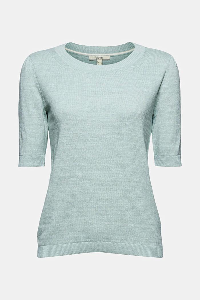 Linen/organic cotton: Knitted top, LIGHT AQUA GREEN, detail image number 6