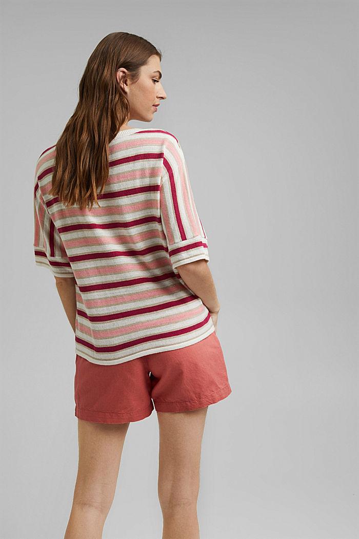 Short-sleeved jumper made of organic cotton/linen, DARK PINK, detail image number 3