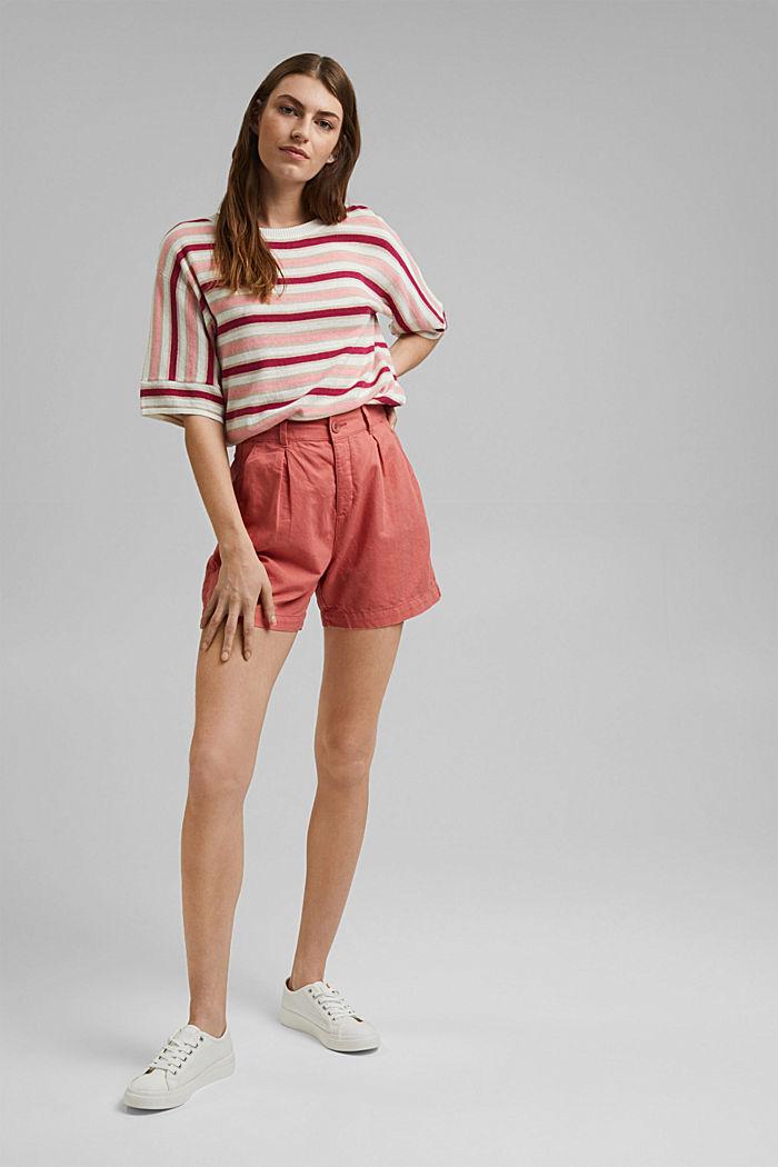 Short-sleeved jumper made of organic cotton/linen, DARK PINK, detail image number 1