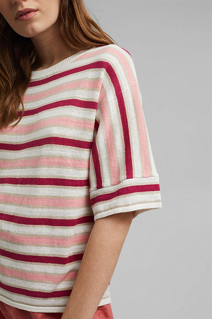 Short-sleeved jumper made of organic cotton/linen, DARK PINK, detail image number 2
