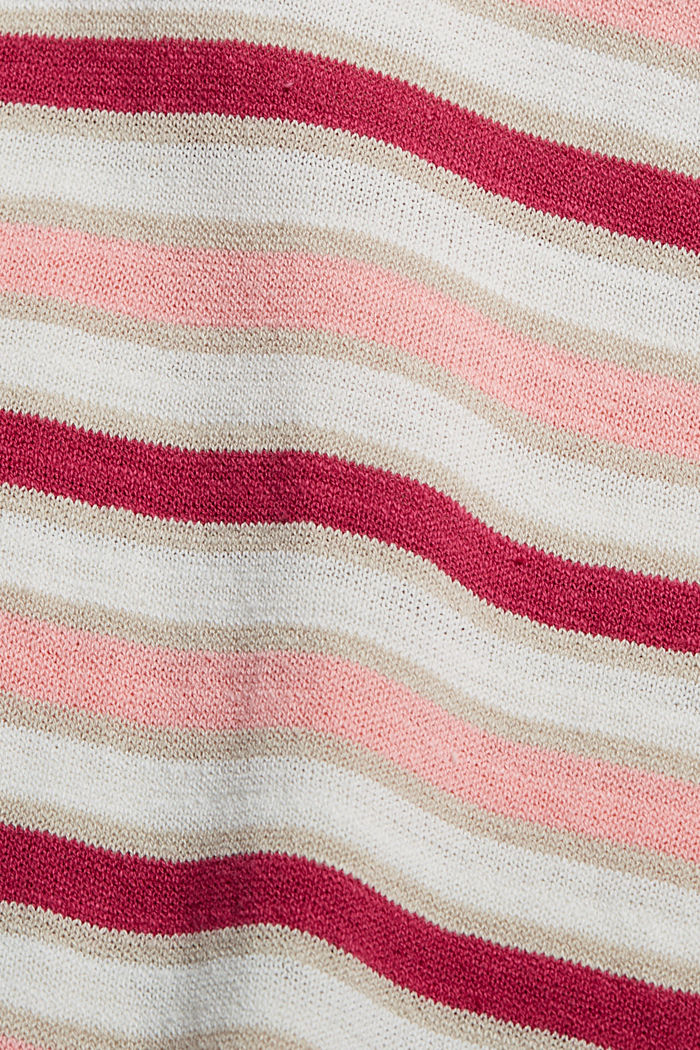 Short-sleeved jumper made of organic cotton/linen, DARK PINK, detail image number 4