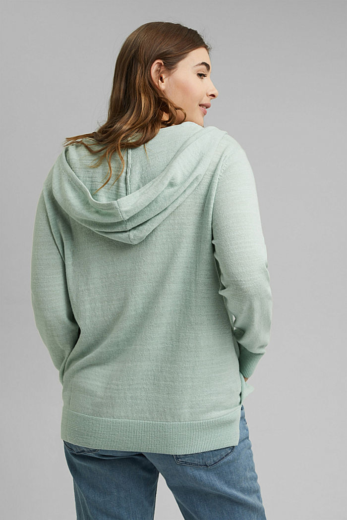 CURVY V-neck hoodie, linen/organic cotton, LIGHT AQUA GREEN, detail image number 3