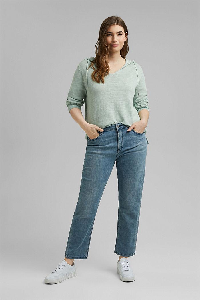 CURVY V-neck hoodie, linen/organic cotton, LIGHT AQUA GREEN, detail image number 1