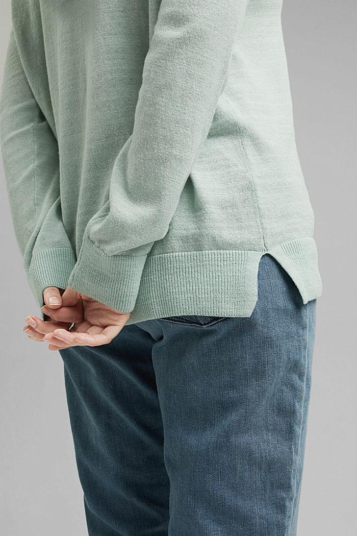 CURVY V-neck hoodie, linen/organic cotton, LIGHT AQUA GREEN, detail image number 2