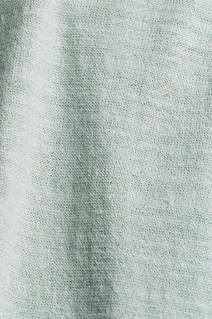 CURVY V-neck hoodie, linen/organic cotton, LIGHT AQUA GREEN, detail image number 4