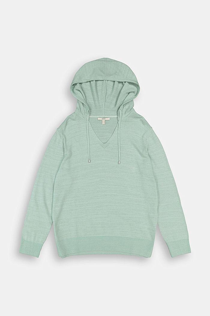 CURVY V-neck hoodie, linen/organic cotton, LIGHT AQUA GREEN, detail image number 5