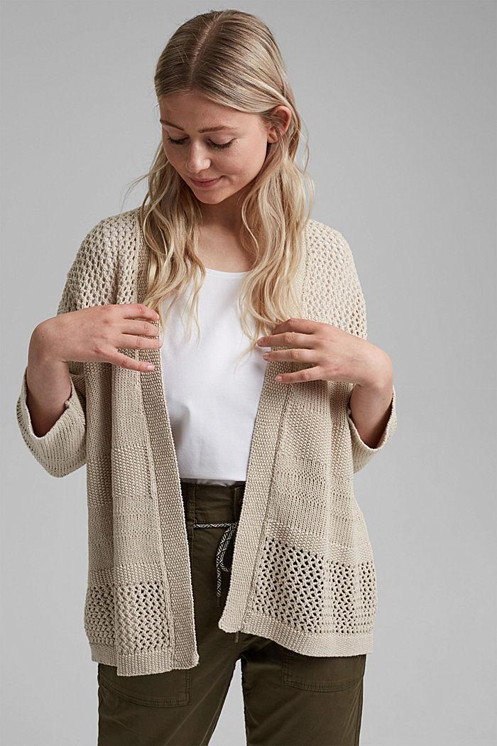 CURVY linen blend: pointelle cardigan, SAND, detail image number 0