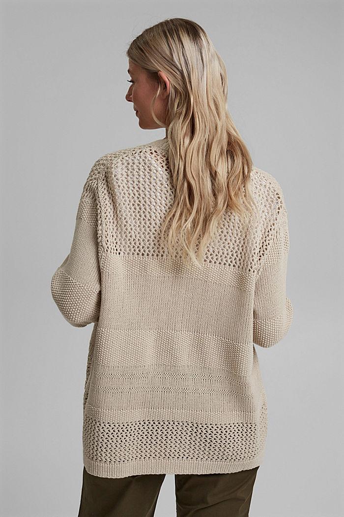 CURVY linen blend: pointelle cardigan, SAND, detail image number 3