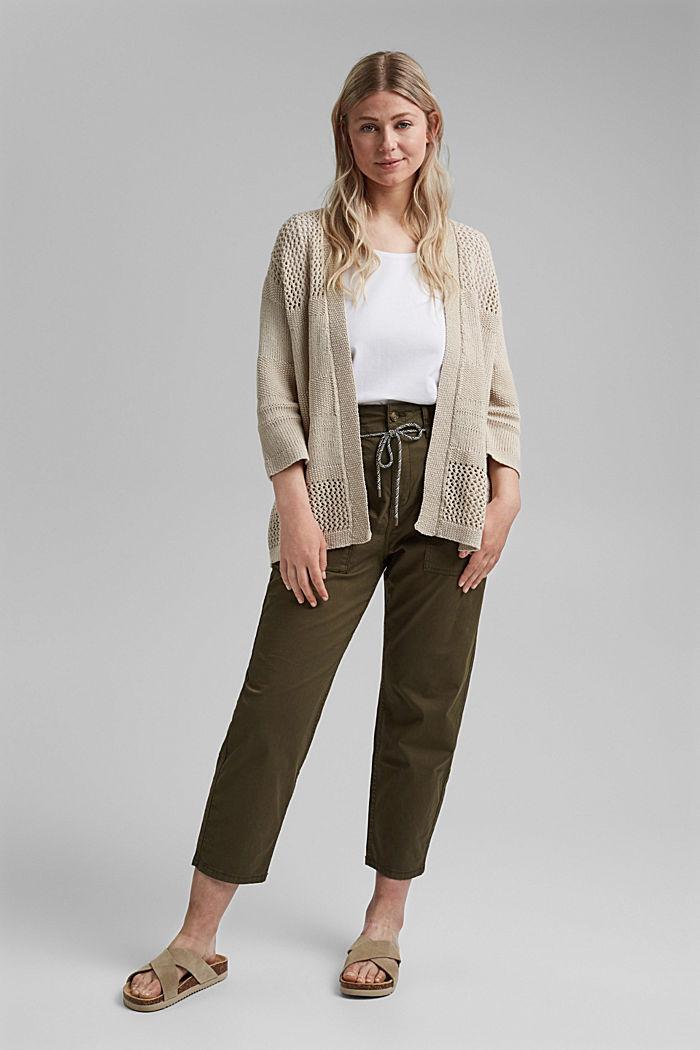 CURVY linen blend: pointelle cardigan, SAND, detail image number 1