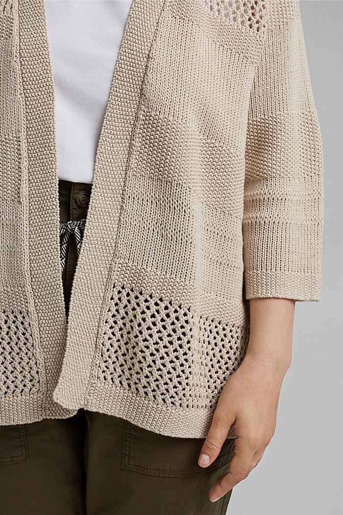 CURVY linen blend: pointelle cardigan, SAND, detail image number 2
