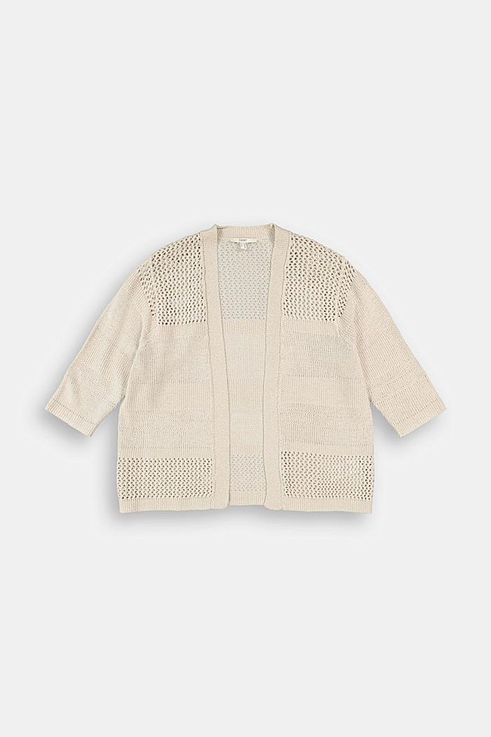 CURVY linen blend: pointelle cardigan, SAND, detail image number 5