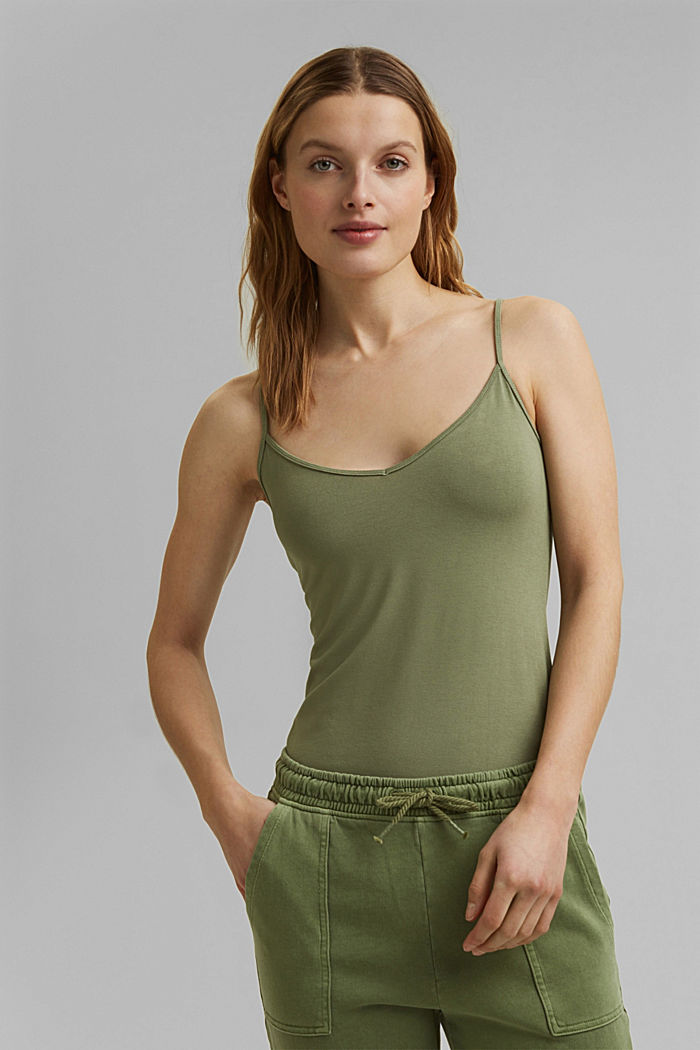 Strappy top made of LENZING™ ECOVERO™, LIGHT KHAKI, detail image number 0