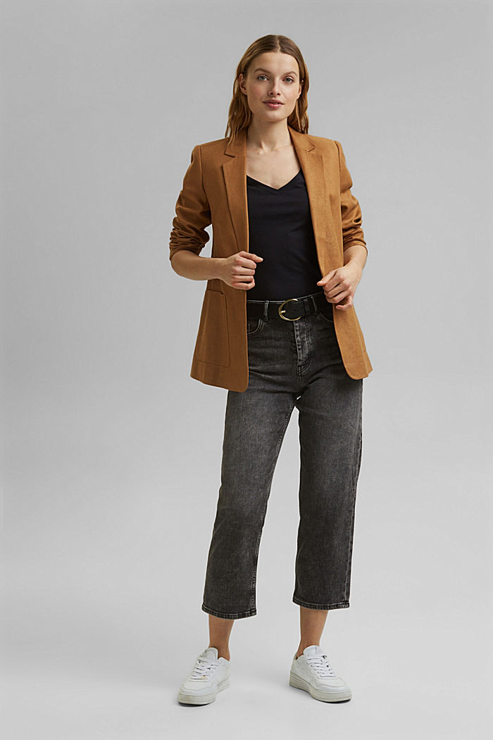 V-Neck-Shirt aus Organic Cotton/TENCEL™, BLACK, detail image number 1