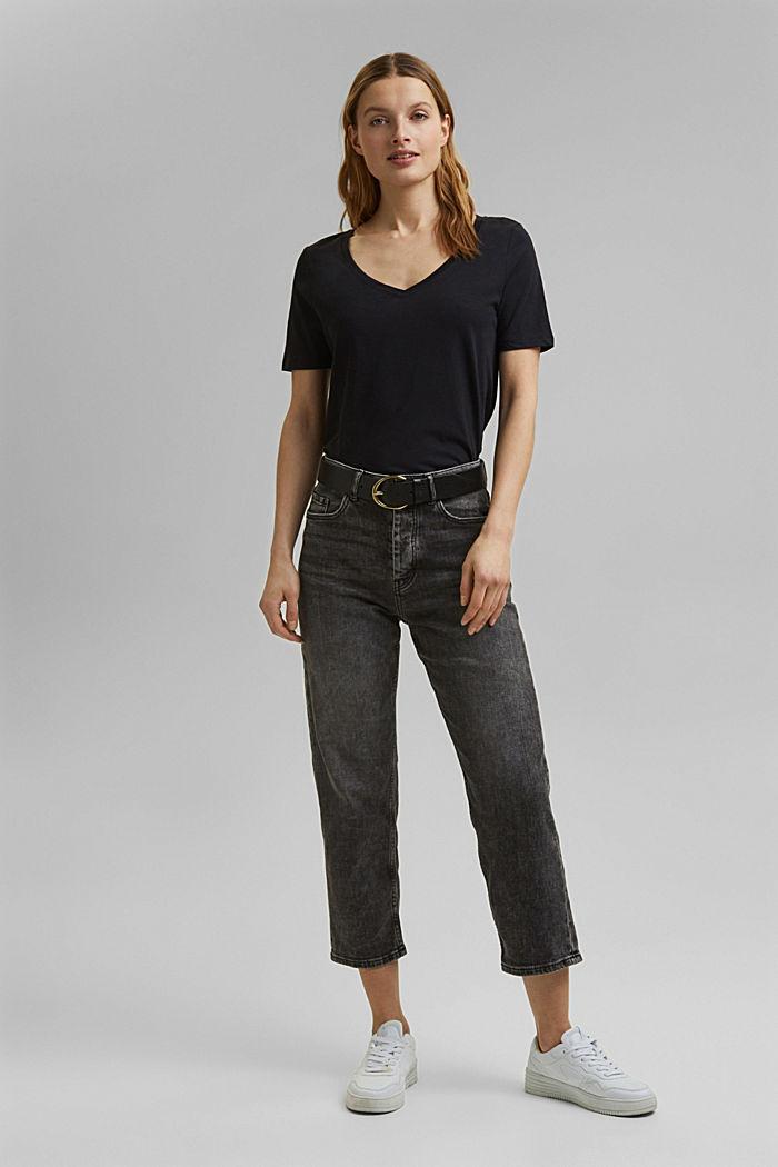 V-Neck-Shirt aus Organic Cotton/TENCEL™, BLACK, detail image number 7