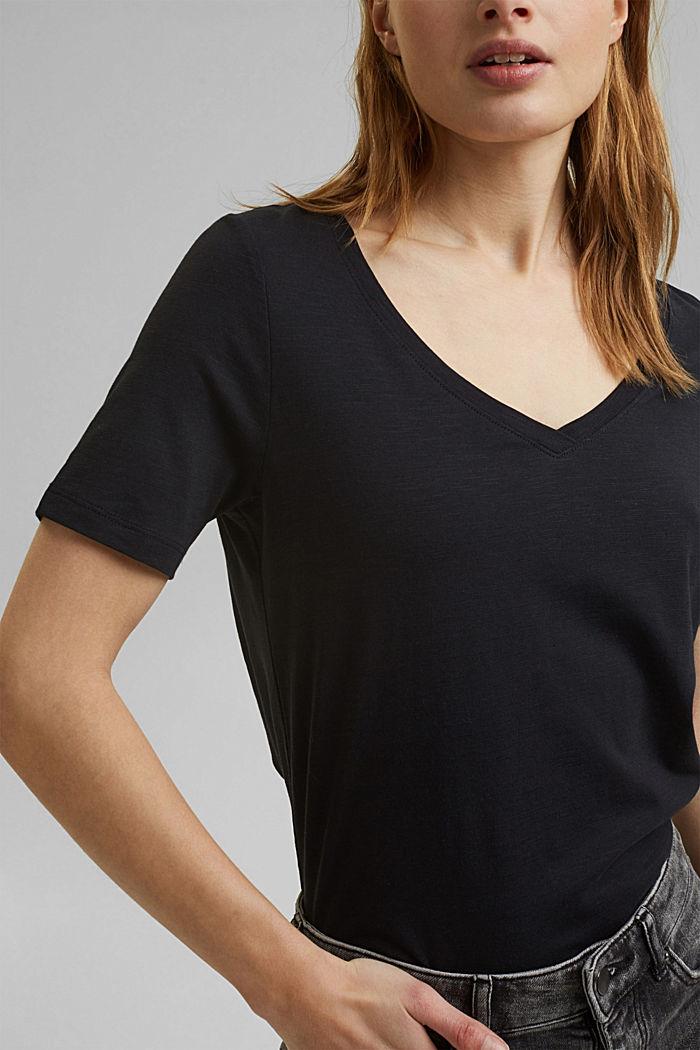 V-Neck-Shirt aus Organic Cotton/TENCEL™, BLACK, detail image number 2