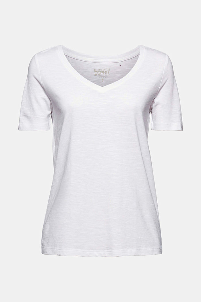 V-Neck-Shirt aus Organic Cotton/TENCEL™, WHITE, detail image number 6