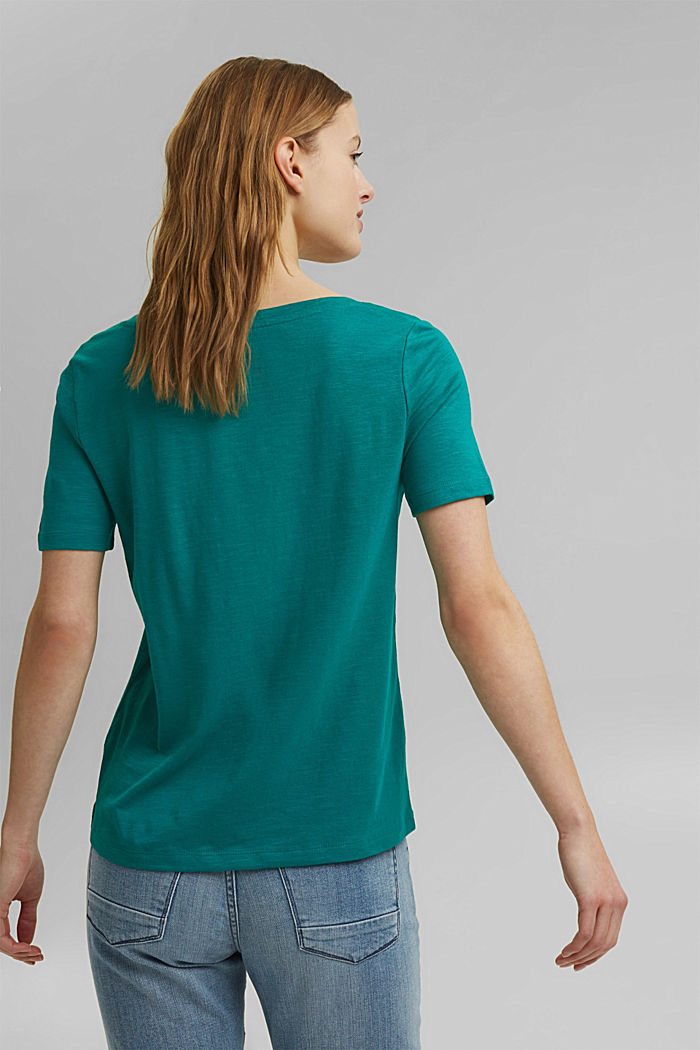 V-Neck-Shirt aus Organic Cotton/TENCEL™, TEAL GREEN, detail image number 3