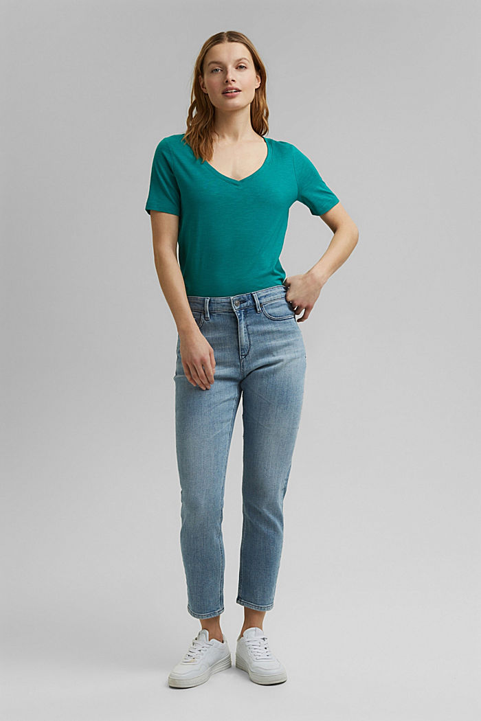 V-Neck-Shirt aus Organic Cotton/TENCEL™, TEAL GREEN, detail image number 5
