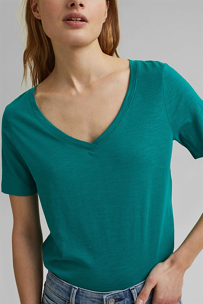 V-neck T-shirt made of organic cotton/TENCEL™, TEAL GREEN, detail image number 2