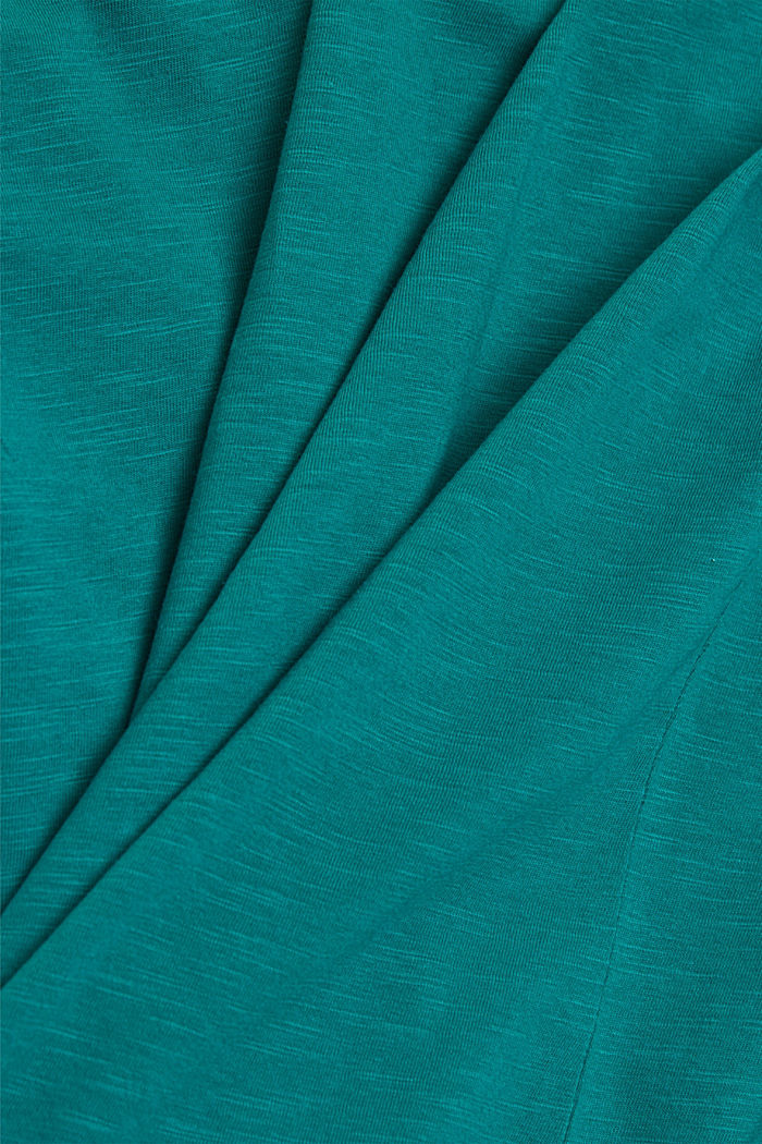 V-neck T-shirt made of organic cotton/TENCEL™, TEAL GREEN, detail image number 4