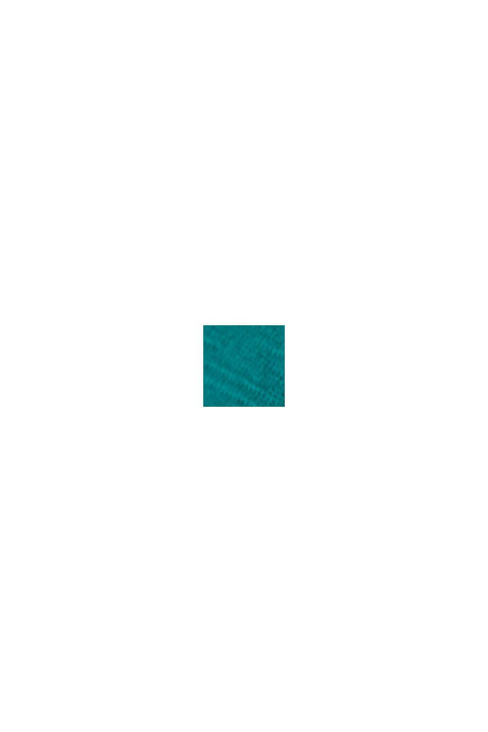 Maglia con scollo a V in cotone biologico/TENCEL™, TEAL GREEN, swatch
