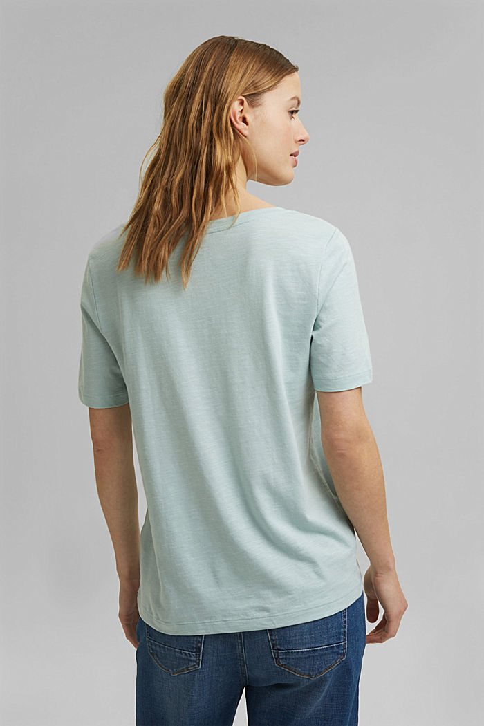 V-neck T-shirt made of organic cotton/TENCEL™, LIGHT AQUA GREEN, detail image number 3