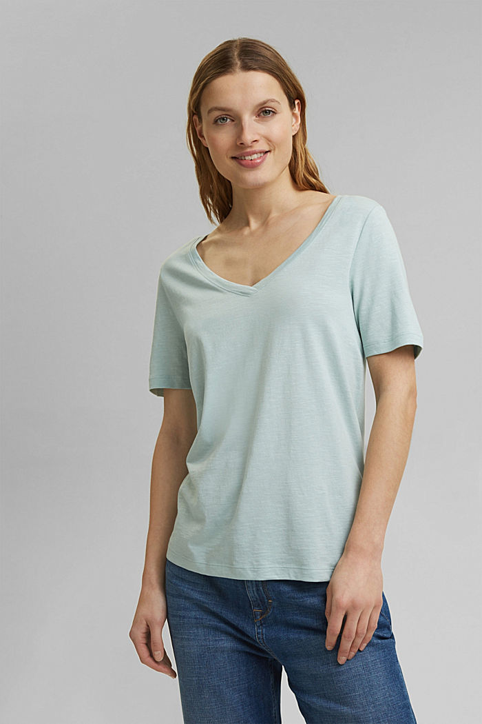 V-neck T-shirt made of organic cotton/TENCEL™, LIGHT AQUA GREEN, detail image number 5