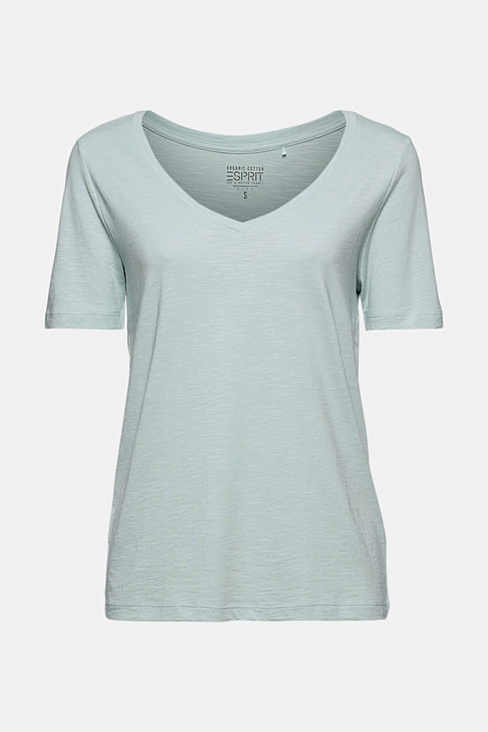 V-neck T-shirt made of organic cotton/TENCEL™, LIGHT AQUA GREEN, detail image number 6