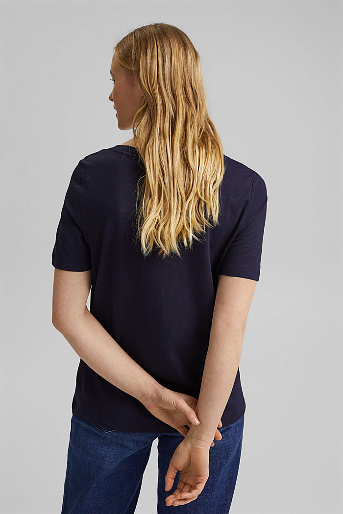 V-neck T-shirt made of organic cotton/TENCEL™, NAVY, detail image number 3