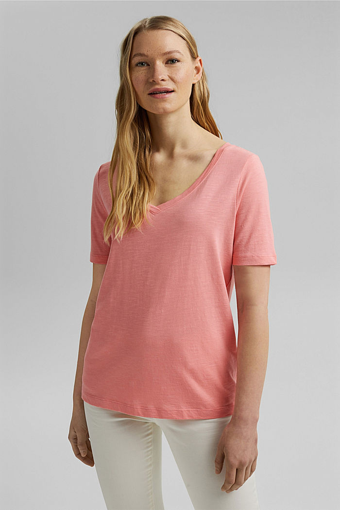 V-Neck-Shirt aus Organic Cotton/TENCEL™, PINK, detail image number 0