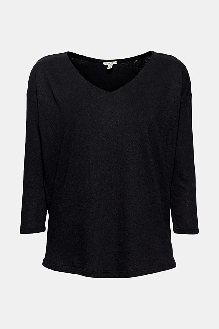 Long sleeve top made of a cotton/linen blend, BLACK, detail image number 5