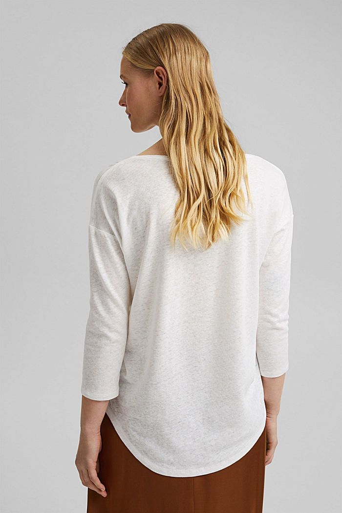 Long sleeve top made of a cotton/linen blend, OFF WHITE, detail image number 3