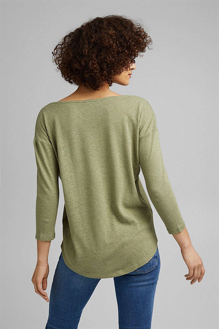 Long sleeve top made of a cotton/linen blend, LIGHT KHAKI, detail image number 3
