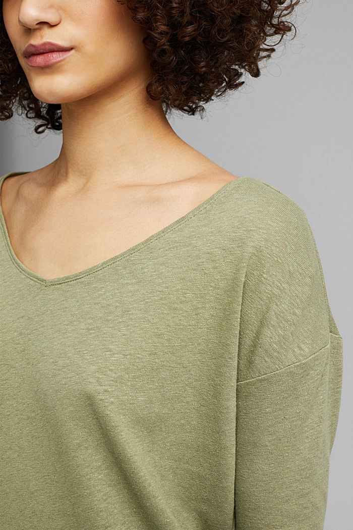 Long sleeve top made of a cotton/linen blend, LIGHT KHAKI, detail image number 2