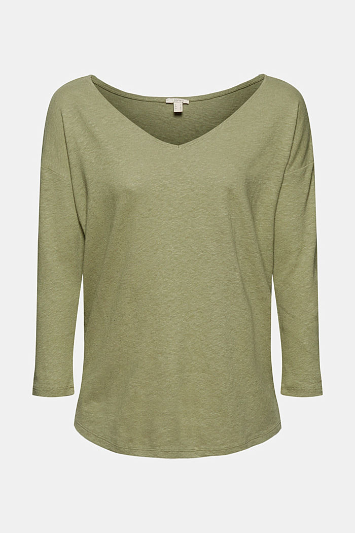 Long sleeve top made of a cotton/linen blend, LIGHT KHAKI, detail image number 6
