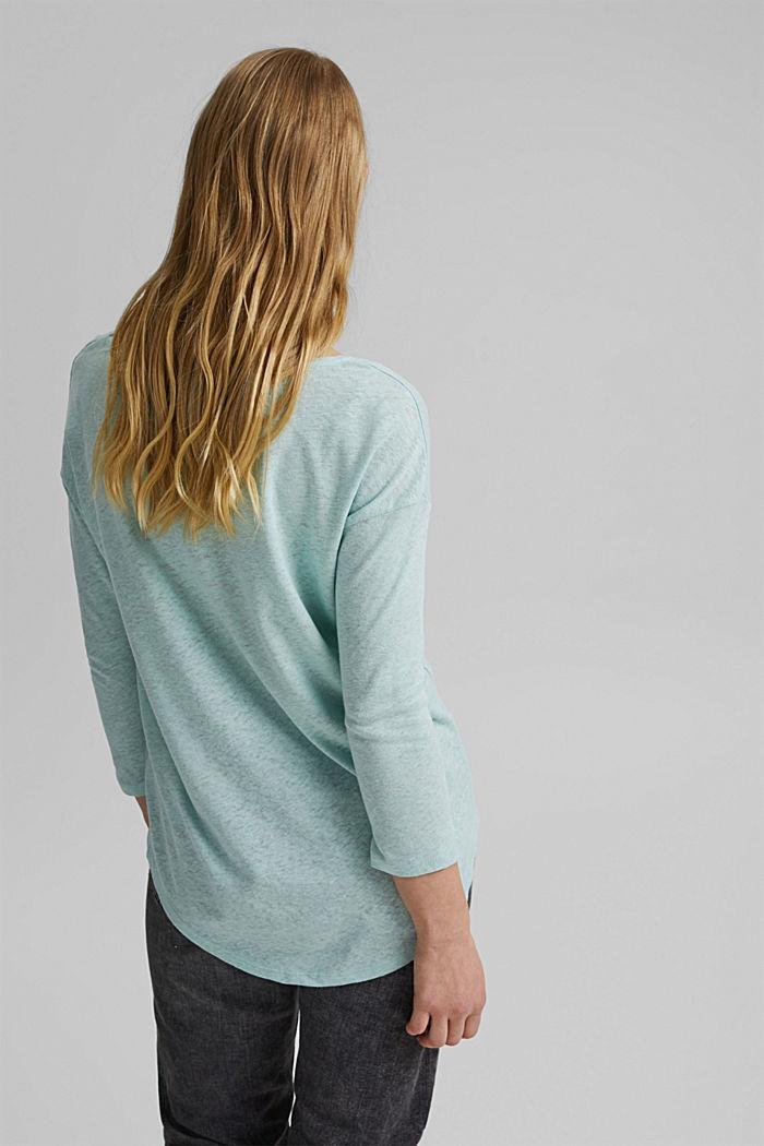 Long sleeve top made of a cotton/linen blend, LIGHT AQUA GREEN, detail image number 3