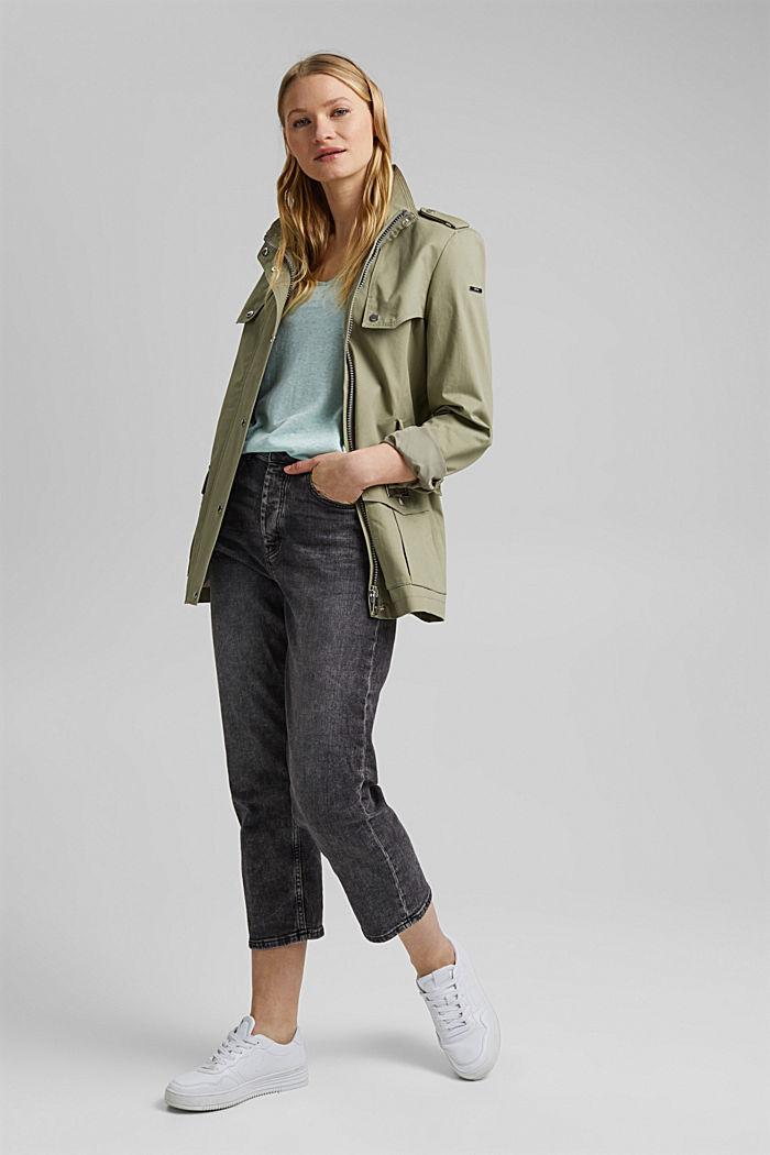 Long sleeve top made of a cotton/linen blend, LIGHT AQUA GREEN, detail image number 1