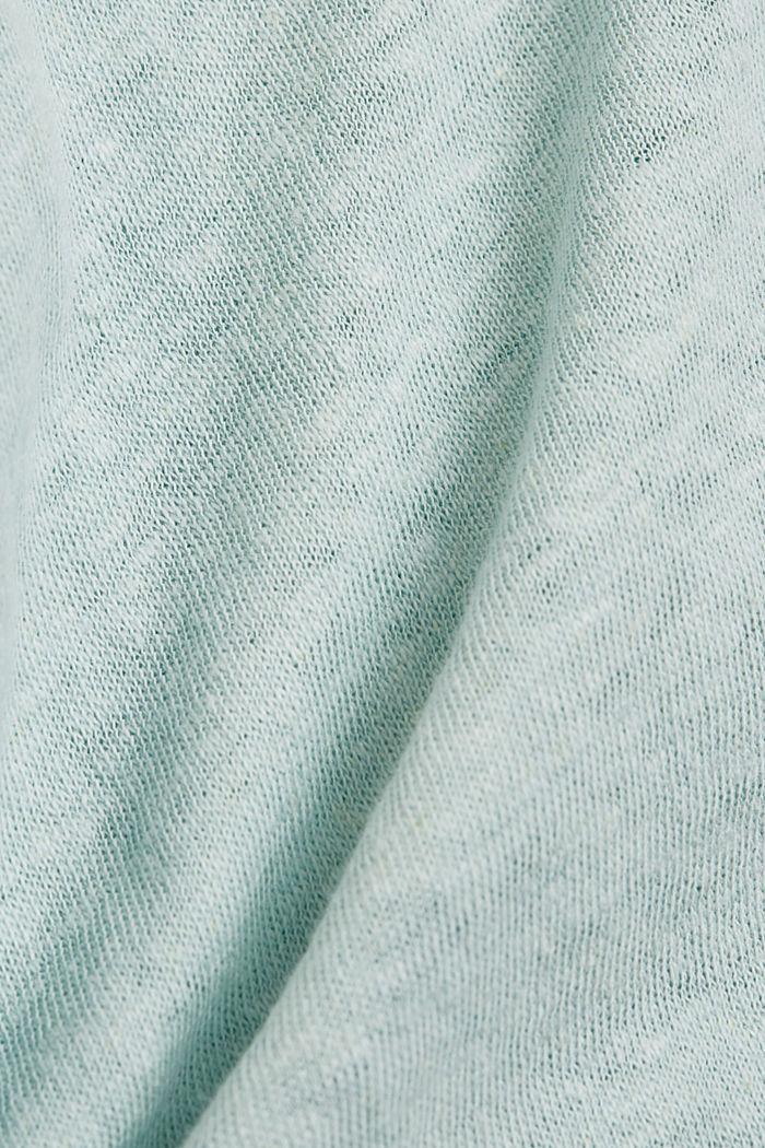 Long sleeve top made of a cotton/linen blend, LIGHT AQUA GREEN, detail image number 4