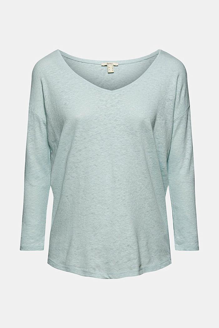 Long sleeve top made of a cotton/linen blend, LIGHT AQUA GREEN, detail image number 6