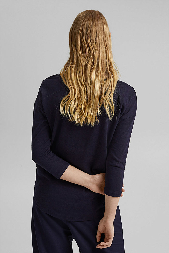 Long sleeve top made of a cotton/linen blend, NAVY, detail image number 3