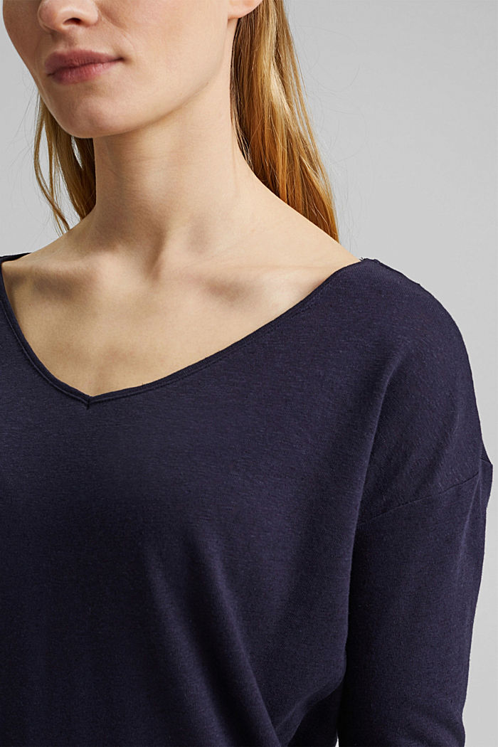 Long sleeve top made of a cotton/linen blend, NAVY, detail image number 2